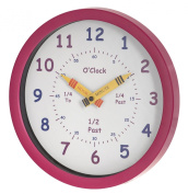 Unity Henley Children's Learn the Time Wall Clock, 25cm , Pink