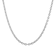 Sterling Silver Curb Link Chain Necklace, 80cm