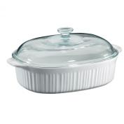 Corningware French White 3.8l Oval Casserole W/ Glass Cover