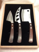 Legnoart LATTE VIVO Cheese Enthusiast's Set, Stainless Steel with Wenghe Pakkawood Handles, Designed by Enrico Albertini