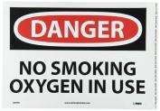"NMC D99PB OSHA Sign, Legend ""DANGER - NO SMOKING OXYGEN IN USE"", 36cm Length x 25cm Height, Pressure Sensitive Vinyl, Black/Red on White"