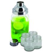 Smart Planet 5-Piece Mason Jar Cocktail Shaker Set, Clear