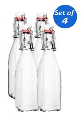 Bormioli Rocco Swing Top Glass Bottles, 250ml - Set of 4