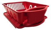 Red Sterilite Two Piece Sink Set Dish Rack Drainer Kitchen Perimeter Cup Holder