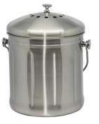 Natural Home Stainless Steel Compost Bin, 6.8l, Stainless Steel