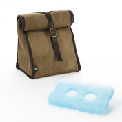 Fit and Fresh Men's Classic Roll Top Insulated Lunch Bag with Ice Pack, Light Brown
