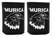 Funny Beer Coolie Murica Bald Eagle 2 Pack Can Coolies Black