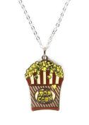 Fashion H2O, Movie Night Popcorn Bowl, Silver Polished Enamel Charm Pendant 46cm Necklace 2.5cm Extender Lobster Claw Clasp.