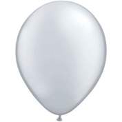 Qualatex 28cm Round Balloons, Silver - Pack of 100