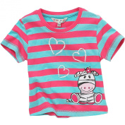 Animal Crazy Girls Cute Zebra Striped Short Sleeved T-Shirt