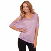 Scooped Bare-Shoulder Relaxed Draped Dolman Sleeve Tunic Top