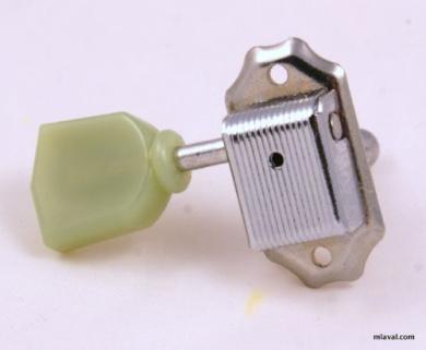 1x Kluson Style Tuning Key Tuner Head Peg for Treble Side G/B/E Chrome/Green