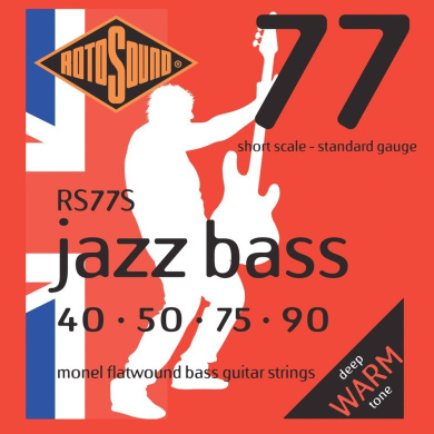 Rotosound RS77S Monel Flatwound Short-Scale Bass Guitar Strings (40 50 75 90)