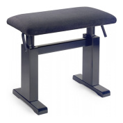 Stagg PBH780 Hydraulic Piano Bench with Black Velvet Top - Black Matte