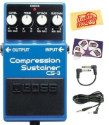 Boss CS-3 Compressor/Sustainer Pedal Bundle with Instrument Cable, Patch Cable, Picks, and Polishing Cloth