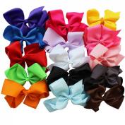 EFE 15 Colours 15cm Boutique Hair Bows Girls Kids Alligator Clip Grosgrain Ribbon Headbands Hair Clips