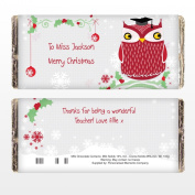 Personalised Christmas Owl Chocolate Bar Great Fun Gift for Teacher Stocking Filler