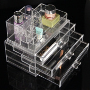 Clear Acrylic Transparent Make up Box Organiser Cosmetic Display 3 Storage Case Perfect to Keep Your Lip Stick, Lip Gel, Nail Polish, Makeup Brushes, Cheek Colour, Liner Pencils, Foundation Stick, Beauty Gadgets and Jewellery