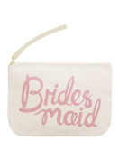 """Canvas Pouch - Make Up/Cosmetic Bag """"Bridesmaid"""" - Pink Print - By Alphabet Bags"""