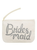 """Canvas Pouch - Make Up/Cosmetic Bag """"Bridesmaid"""" - Grey Print - By Alphabet Bags"""