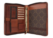 Greenland Nature Leather Zip Round Conference Folder With Grab Handle 2344 Brown