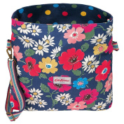 Cath Kidston Reversible Folded Messenger Bag Paradise Flowers Colourful Button Spot Indigo