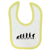 Evolution of Golf Design Baby hook and loop Fastening Bib with Yellow Contrast Trim and Black Print