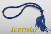Handmade Christian Orthodox Komboskoini, Prayer Rope 100 Knots Blue/red Beads