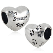 Everbling Dog Paw My Sweet Pet Authentic 925 Sterling Silver Charm Bead Fits Pandora Chamilia Biagi Troll Europen Style Bracelets