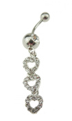 Ladies Surgical 316L Steel Diamante Crystal Ring Dangle Belly Bar Piercing Triple Hearts