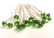 20pcs x 8mm Lime Green Crystal Rhinestone Hair Pin Party Prom Bride Wedding