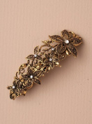 5333 10cm Antique gilt crystal filligree flower barrette hair clip wedding party prom
