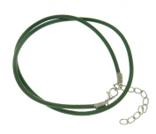 Leather necklace cord, surfer, surf style, leather, green, 2.5mm, length