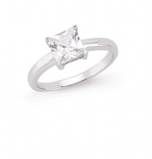 Silver CZ Single Square Stone Dress Ring