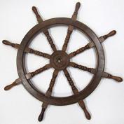 Hardwood Ship's Wheel w/ Wooden Hub - 90cm Diameter - Nautical Decor