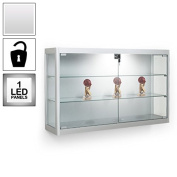 Premium Glass Wall Mounted Display Cabinet - Aluminium Silver - 1 LED