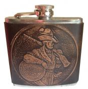 Stainless Steel Hip Flask Leather Hunter Design Trachtenflachmann 180ml