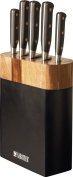 Original Sabatier Noir 5 Piece Knife Block Set with High Carbon German Steel . Two Tone Block in Black and Acacia Wood + FREE Homeware Bargains 6 Steak Knives