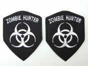 ZOMBIE HUNTER Embroidered IRON ON Badge Applique Motif Patch (WHITE) by ONEKOOL