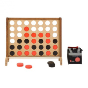 Giant Four In A Row Game - This Giant Garden Game features a beautiful 90cm x 80cm English ash face and mango wood legs and bar guard. Comes with 42 plastic coins and a nylon storage bag for the coins. Connect 4 in a row to win.
