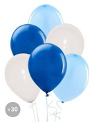 White balloons, blue and dark blue