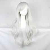Womens Ladies Girls 70cm Sliver White Colour Long Curly Wigs High Quality Hair Carve Cosplay Costume Anime Party Bangs Full Sexy Wigs