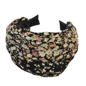 China Flower Retro Black Wide Pleated Alice Hair Band Headband Printed for Wedding Party Prom
