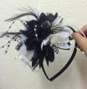 Caprilite Black and White Headband Feather Fascinator Wedding Ascot Races