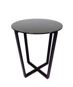 Mango Steam Metro Glass End Table - Black Top / Black Base