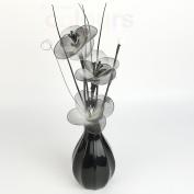 3 Head Pansy Nylon White & Black Artificial Flowers in Modern Pumpkin Vase