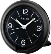 Seiko QHT012K Travel Alarm Clock, Black