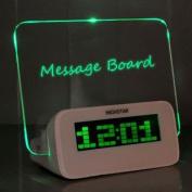 BXT Creative Erasable Memo Board LED Alarm Clock with Highlighter - Green