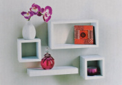 Set of 4 Floating Wall Storage Display Book Cubes Shelves Stand Shelf