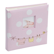 Kenro baby girl pink polka dot design traditional photo album with 50 sheets / 100 pages
